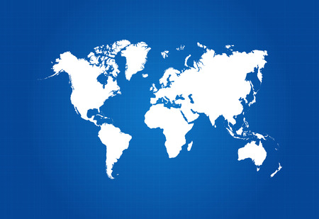 Map Of The World On Blueprint Vector