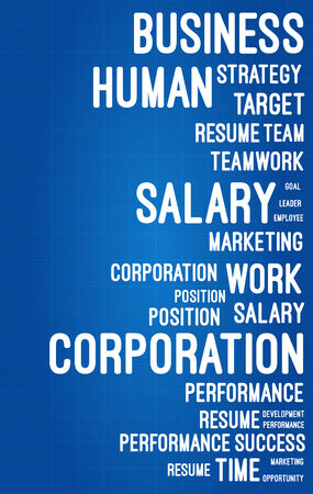 Business And Career Word Cloud On Blueprint Vector