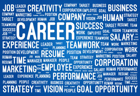 career path: Business And Career Word Cloud On Blueprint