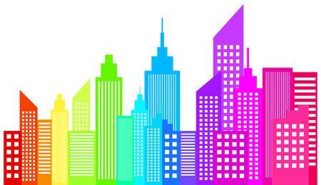 ciudad: Modernos rascacielos Horizonte de la ciudad Vectores