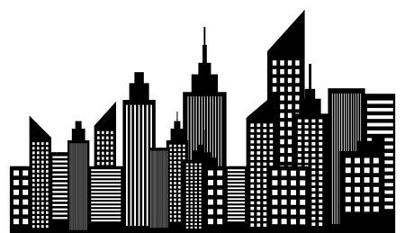 city skyline: Modern City Skyline Skyscrapers Illustration