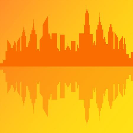 Modern City Skyscrapers Skyline Silhouette Vector