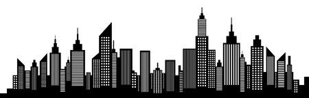 近代都市高層ビルのスカイライン シルエット  イラスト・ベクター素材