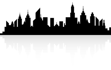 new york skyline: Modern City Skyscrapers Skyline Silhouette