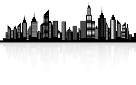 近代都市の高層ビルのスカイラインのシルエット