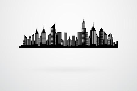city scape: Modern City Skyscrapers Skyline Silhouette
