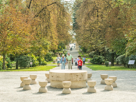 constantin: TARGU JIU, ROMANIA - AUGUST 26, 2014: The Table Of Silence is a stone sculpture made by Constantin Brancusi which symbolizes the council table before a battle, the chairs representing 12 hour-glasses.