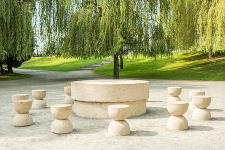 The Table Of Silence Is A Stone Sculpture Made By Constantin Brancusi in 1938 In Targu Jiu, Romania.