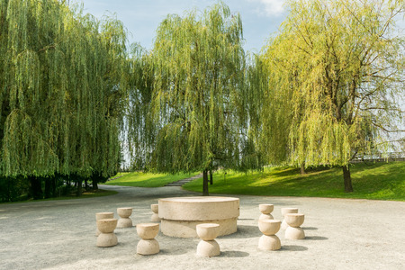 constantin: The Table Of Silence Is A Stone Sculpture Made By Constantin Brancusi in 1938 In Targu Jiu, Romania.