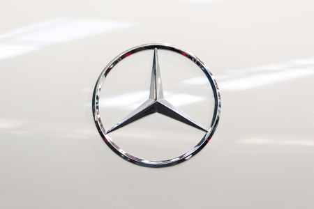 BUCHAREST, ROMANIA - OCTOBER 31, 2014: Mercedes Benz Sign Close Up. Founded in 1926 is a German luxury automobile manufacturer, a multinational division of the German manufacturer Daimler AG.