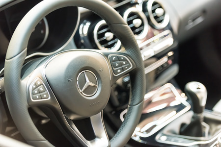 daimler: BUCHAREST, ROMANIA - OCTOBER 31, 2014: Mercedes Benz C200 Interior View. Founded in 1926 is a German luxury automobile manufacturer, a multinational division of the German manufacturer Daimler AG.