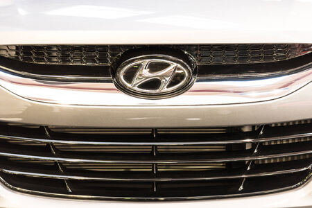 headquartered: BUCHAREST, ROMANIA - OCTOBER 31, 2014: Hyundai Sign Close Up. Hyundai Group was a multinational conglomerate headquartered in Seoul, South Korea and was founded by Chung Ju-yung in 1947.