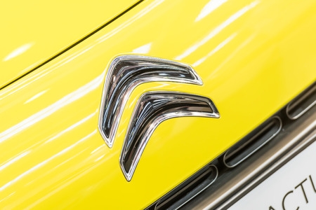 industrialist: BUCHAREST, ROMANIA - OCTOBER 31, 2014: Citroen Car Sign. Founded in 1919 by French industrialist Andre-Gustave Citroen, Citroen was the first mass-production car company outside the USA.