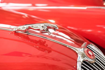 jaguar: BUCAREST, RUMANIA - 31 de octubre 2014: 1957 Jaguar XK150 Símbolo. El Jaguar XK150 es un automóvil deportivo producido por Jaguar entre 1957 y 1961. Editorial