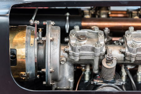 Old Car Internal Combustion Engine Pistons Close Up photo