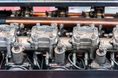 pistons: Old Car Internal Combustion Engine Pistons Close Up