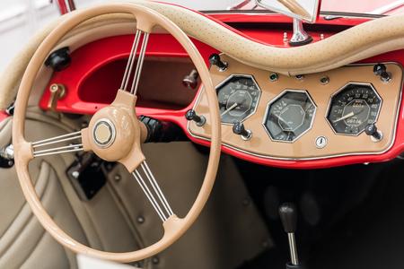 Vintage Car Interior With Retro Dashboard photo
