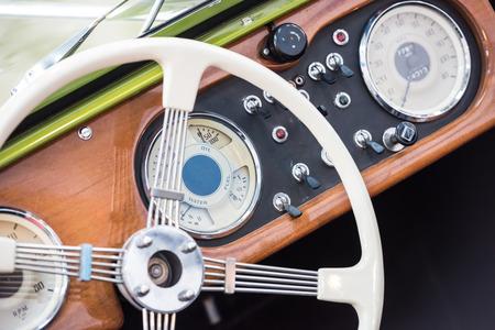Retro Interior Of Vintage Car photo