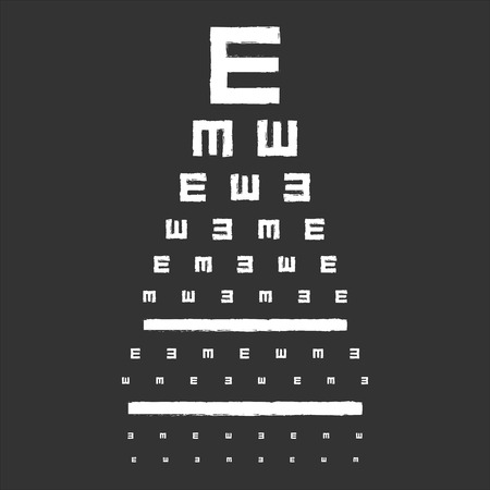 eye exam: Eye Sight Test Chart On Blackboard Illustration