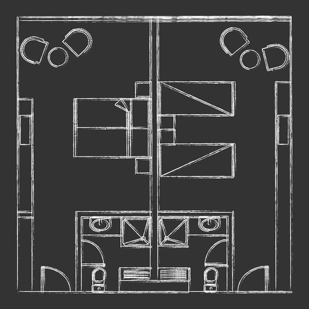 hotel room: Architectural Vector Of Standard Twin And Double Hotel Room On Blackboard Illustration