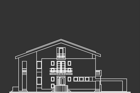 Architectural Vector Of Standard House Facade On Blackboard Vector