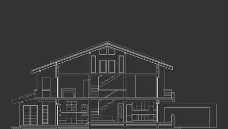 the section: Architectural Vector Of Standard House Section On Blackboard