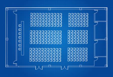 Architectural Blueprint Vector Of Standard Meeting And Presentation Room Ilustração