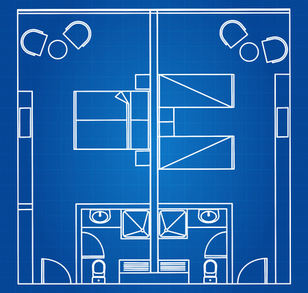 hotel room: Architectural Blueprint Vector Of Standard Twin And Double Hotel Room