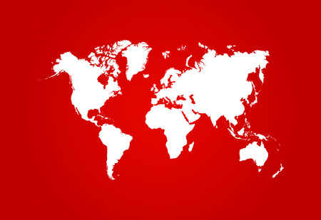 World Map Blueprint With Red Background Vector Vector
