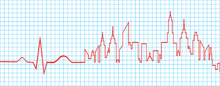 heart ekg trace: Electrocardiogram Line With Life Waves And City Abstract Vector Illustration