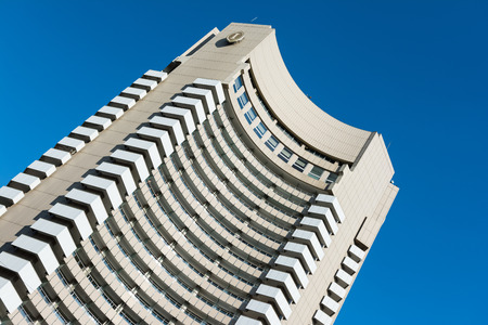 intercontinental: BUCHAREST, ROMANIA - AUGUST 30, 2014: Built In 1970 The InterContinental Bucharest is a 25 floors high-rise five star hotel situated near University Square and is also a landmark of the city.