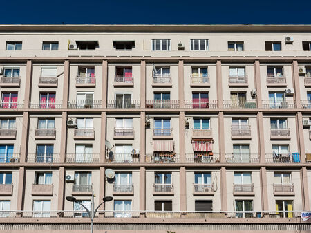 prevalent: BUCHAREST, ROMANIA - AUGUST 30, 2014: Apartment Buildings On Magheru Boulevard one of the worlds most representative modernist boulevards, where the architecture in vogue in the 1930s is prevalent.