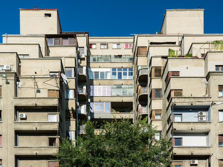 BUCHAREST, ROMANIA - AUGUST 30, 2014: Apartment Buildings On Magheru Boulevard one of the worlds most representative modernist boulevards, where the architecture in vogue in the 1930s is prevalent.