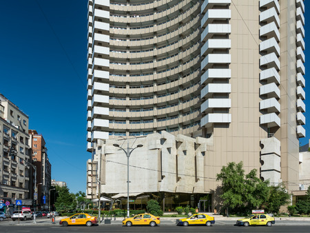 intercontinental: BUCHAREST, ROMANIA - AUGUST 30, 2014: InterContinental Hotel Entrance Downtown Magheru Boulevard. Built In 1970 it is a 25 floors high-rise five star hotel and is also a landmark of the city. Editorial