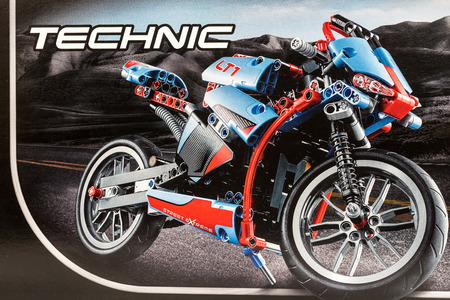 technic: BUCHAREST, ROMANIA - JANUARY 20, 2015: Lego Technic Motorcycle Box. Technic is a line of Lego interconnecting plastic rods and parts that creates more advanced models with more complex movable arms.
