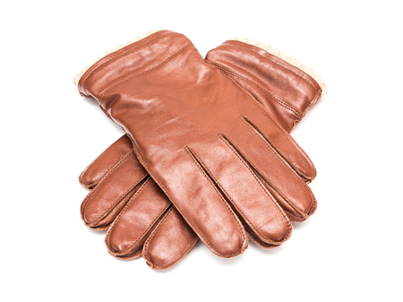 hand gloves: Pair Of Brown Leather Gloves Isolated Stock Photo