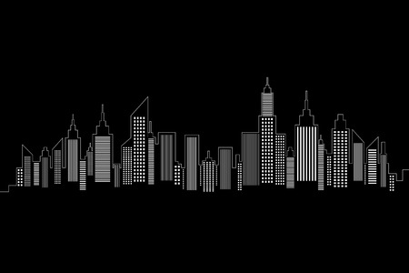 City Skyline White Silhouette On Black Background Vector