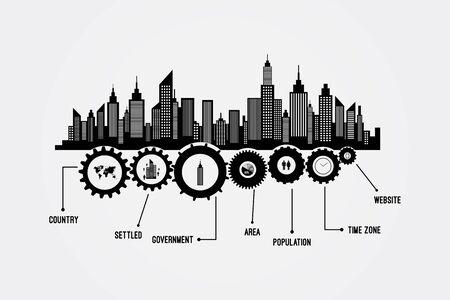 city scape: City Skyline Skyscrapers Vector Infographics