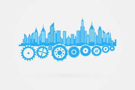 cog wheels: City Skyline Skyscrapers On Cog Wheels Vector Illustration