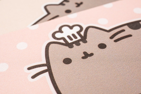 mouse pad: BUCHAREST, ROMANIA - JANUARY 31, 2015: Pusheen The Cat Mouse Pad Texture. Pusheen is an animated webcomic series created in 2010 that depicts the life and dreams of the titular gray tabby cat.