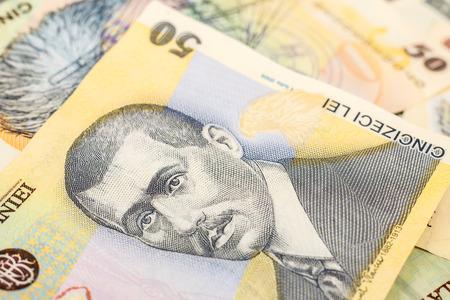 leu: Rumeno Lei Banconote Close Up Archivio Fotografico