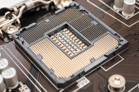 Empty CPU Socket On Computer Motherboard