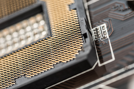 motherboard: CPU Socket On Computer Motherboard Close Up