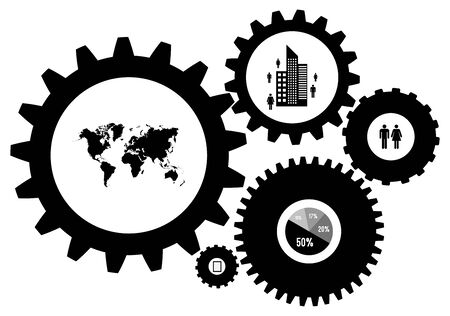 Infographic Design Template Vector With Gears And Cogs Vector