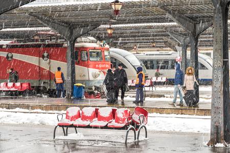 nord: BUCHAREST, ROMANIA - DECEMBER 29, 2014: Heavy Snowfall In Bucharest North Railway Station (Gara de Nord) In Winter. It is the main railway station in Bucharest and the largest station in Romania.