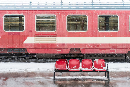 caboose: Ice Frozen Train During Heavy Snowfall