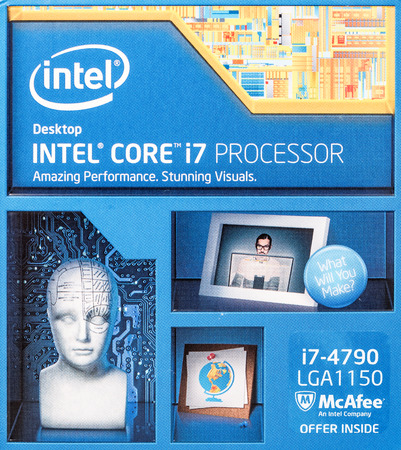 intel: BUCHAREST, ROMANIA - FEBRUARY 10, 2015: Intel i7 Processor Box. Founded in 1968 Intel is one of the worlds largest semiconductor chip makers and the inventor of x86 processors found in most computers.