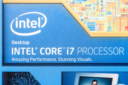 semiconductor: BUCHAREST, ROMANIA - FEBRUARY 10, 2015: Intel i7 Processor Box. Founded in 1968 Intel is one of the worlds largest semiconductor chip makers and the inventor of x86 processors found in most computers.