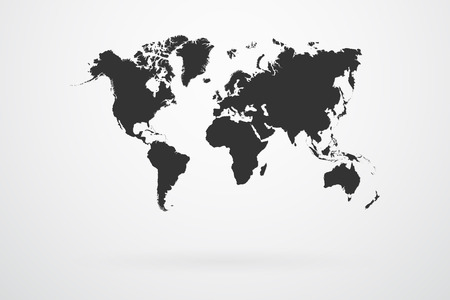 Black World Map Continents Vector Vector