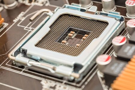 motherboard: CPU Socket On Computer Motherboard Stock Photo